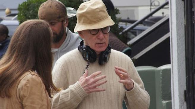 Woody Allen on the set of Blue Jasmine
