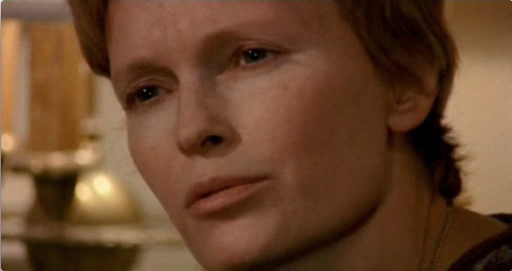 Mia Farrow in a smash zoon shot from Husbands And Wives