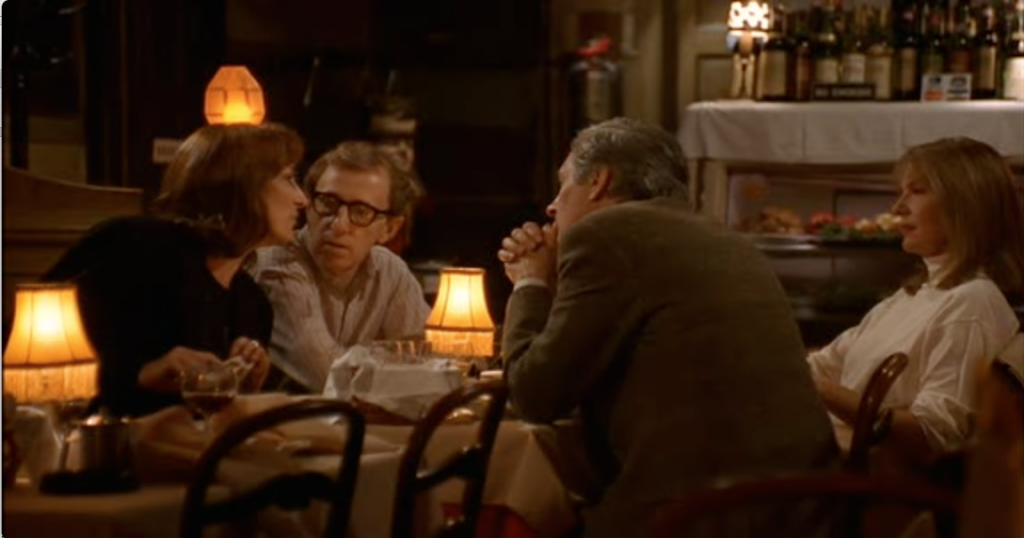 Anjelica Houston, Woody Allen, Alan Alda and Diane Keaton in Manhattan Murder Mystery