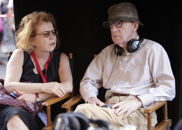 Letty Aronson and Woody Allen in Rome, during the making of 'to Rome with love'