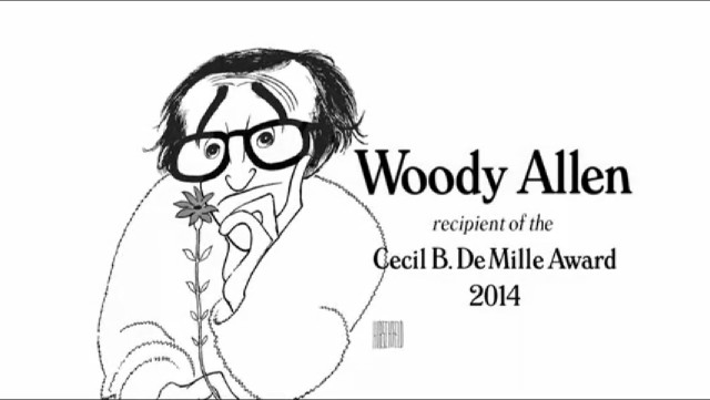 Al Hirshfeld illustration from the 2014 Golden Globes montage for Woody Allem