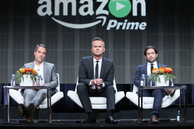 (L-R) Head of Drama Development at Amazon Studios Morgan Wandell, Head of Amazon Studios Roy Price and ?Head of Comedy at Amazon Studios Joe Lewis speak onstage at the Amazon Studios portion of the 2015 Summer TCA Tour at The Beverly Hilton Hotel on August 3, 2015 in Beverly Hills, California. (Photo by Frederick M. Brown/Getty Images)