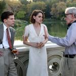 NEW YORK, NY - OCTOBER 21:  Kristen Stewart, Jessie Eisenberg, Woody Allen  film Woody Allen's latest movie in Central Park on October 21, 2015 in New York City.  (Photo by Steve Sands/GC Images)