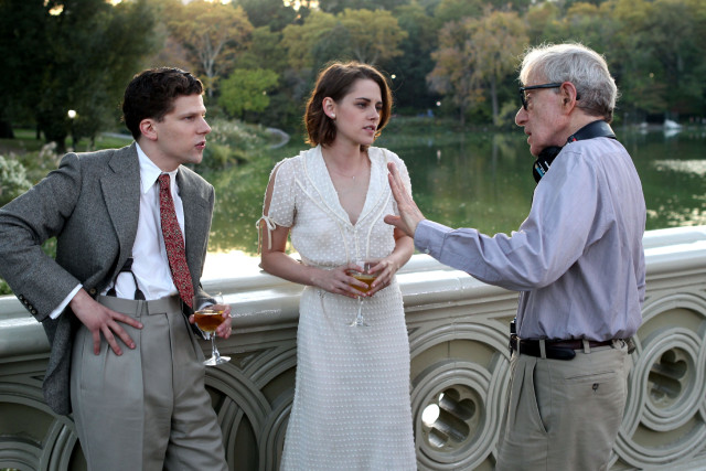 NEW YORK, NY - OCTOBER 21: Kristen Stewart, Jessie Eisenberg, Woody Allen film Woody Allen's latest movie in Central Park on October 21, 2015 in New York City. (Photo by Steve Sands/GC Images)