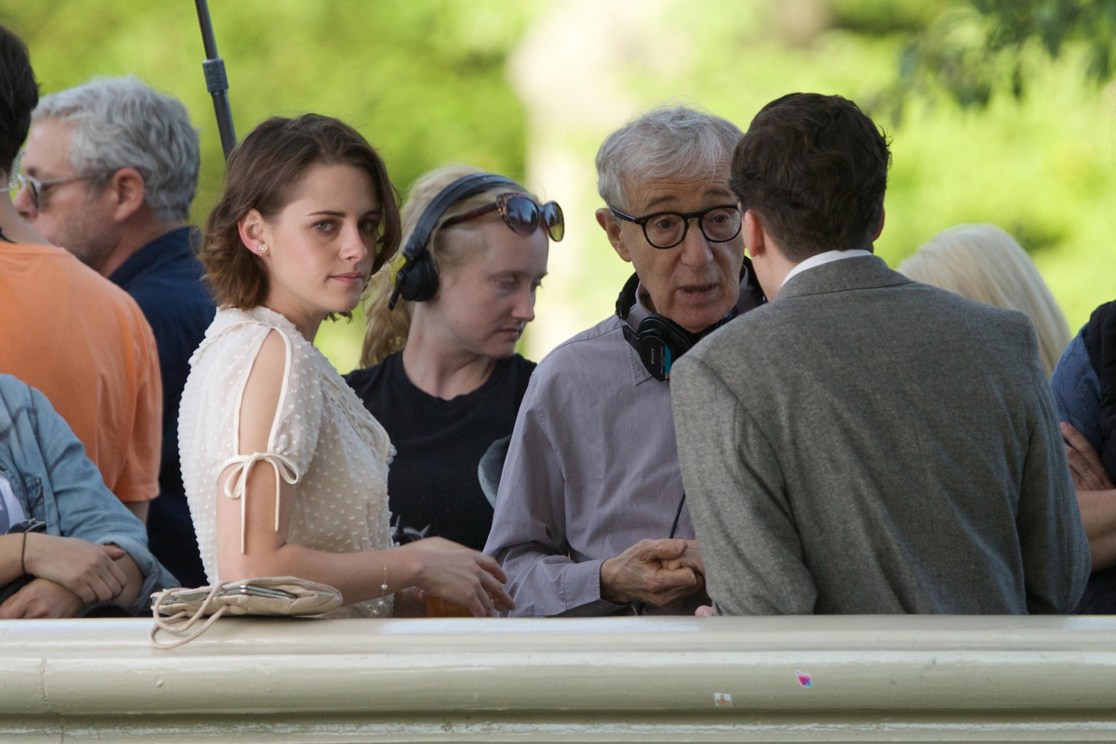 Kristen Stewart shares a passionate kiss with a co-star on the set of Woody Allen's new movie in Central Park, NYC