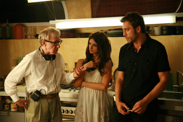 Woody Allen, Penelope Cruz and Javier Bardem on the set of Vicky Cristina Barcelona